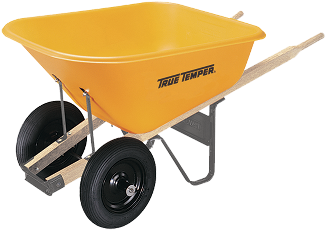 Dual Wheel Parts : Cubic foot poly wheelbarrow with dual wheels true